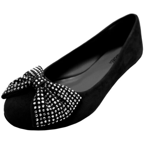 New women's shoes ballet flat ballerina suede bow rhinestones black casual party