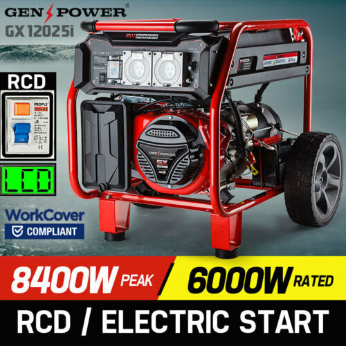 GENPOWER 8.4kVA Max 6kVA Rated Generator Single-Phase Petrol - Portable RCD <br/> WorkSafe Approved | Safety Switch | Electric Start
