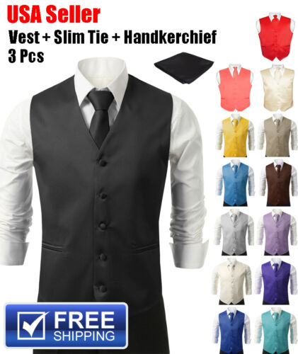 SET Vest Tie Hankie Fashion Men's Formal Dress Suit Slim Tuxedo Waistcoat Coat <br/> 1-Day Handling*Quick Shipping*Hassle-Free Returns