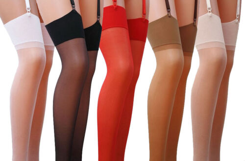 Plain Sheer Stockings  Sizes S - XXL Various Colours 17 Denier new