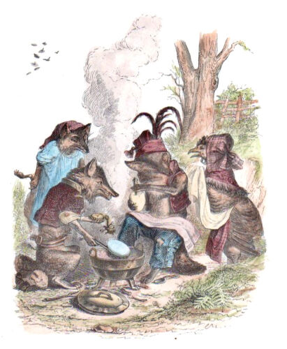 """GRANDVILLE """"FOREST FEAST"""" 1842 original French hand painted engraving"""