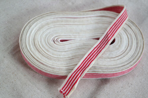 """10 yard 5/8"""" wide french cotton ticking red white striped knit ribbon or trim"""