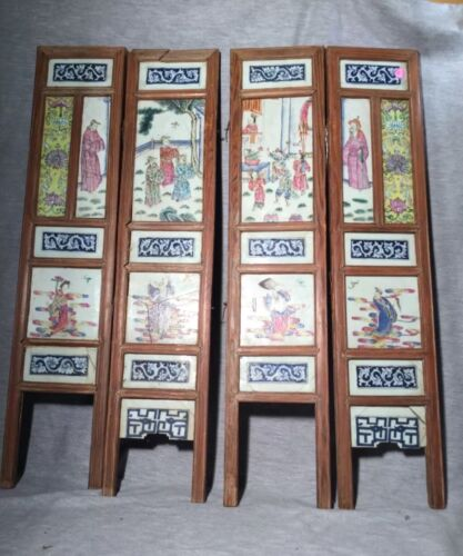 A set of four porcelain panels, Chinese table screen Qing Dynasty