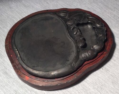 A Chinese ink Stone With Wood Box