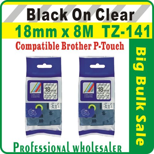 18mm x 8m Brother Black on Clear Compatible TZ-141 P-Touch Laminated Label Tape