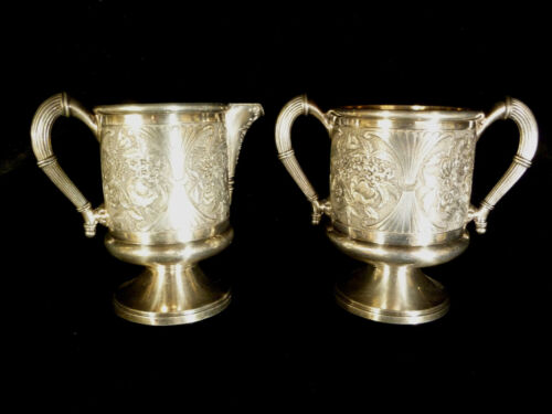 JAMES W TUFTS BOSTON SILVER PLATED CREAMER & SUGAR – CIRCA 1895