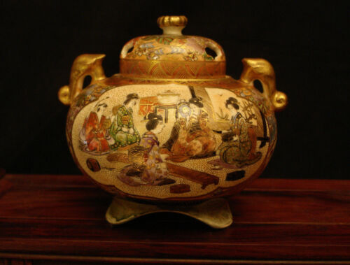 "3 1/2"" MARKED Shuzan Yasuda Co JAPANESE MEIJI SATSUMA CENSER KORO INCENSE BURNER"
