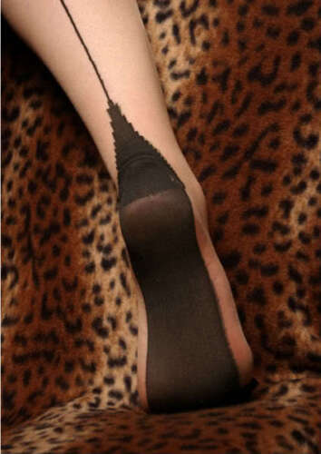 Burlesque Contrast Seamed Hold-Ups with Cuban Heels Choice of colour