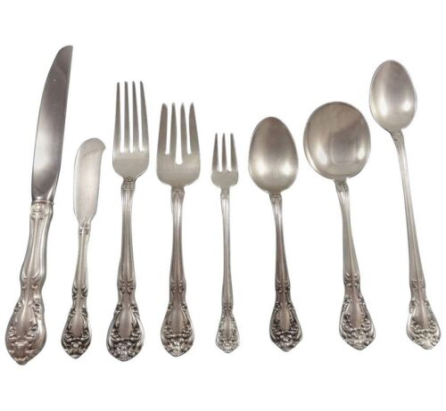 Chateau Rose by Alvin Sterling Silver Flatware Set For 12 Service 101 Pieces