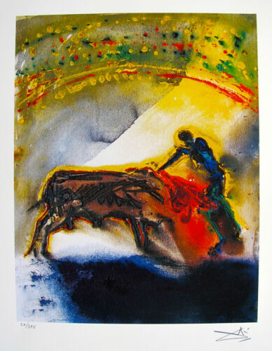 Salvador Dali THE BULLFIGHT Facsimile Signed Limited Edition Art Giclee