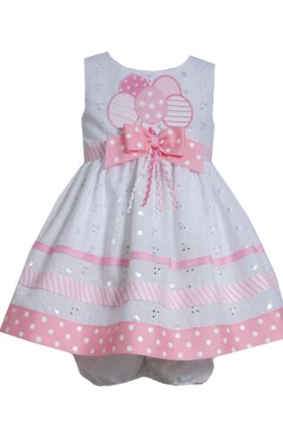New Bonnie Jean Girls Birthday Balloons Eyelet Pink Party Dress 12 18 24 Months