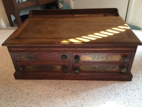 Antique J & P  Coats Spool Cabinet Desk or Jewelry Chest, lift top, ink well