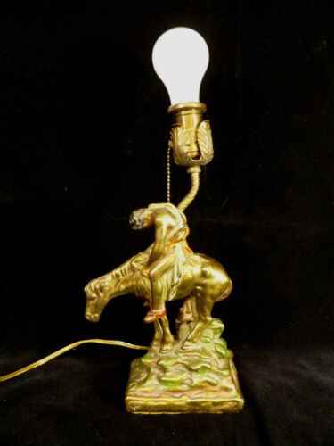 RARE ARMOR BRONZE COMPANY END OF THE TRAIL NATIVE AMERICAN INDIAN LAMP C 1915