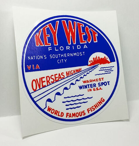 Key West Florida, Vintage Style Travel Decal / Vinyl Sticker, Luggage Label