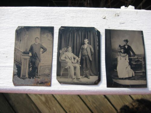 Lot of 3 Antique  Photo on metal base  1850s.