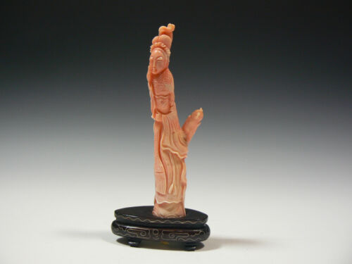 Chinese Antique Carved Coral Kwan Yin and Parrot with Wire inlay Wood base