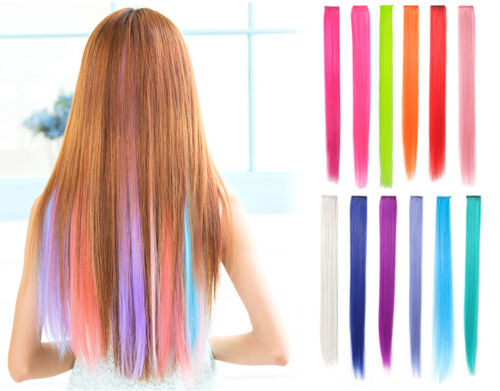 """OneDor® 23"""" Straight Synthetic Colored Party Highlight Clip in Hair Extensions"""
