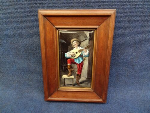 FRENCH LIMOGES ENAMEL PLAQUE THEOPHILE SOYER MUSKETEER PLAYING MUSIC