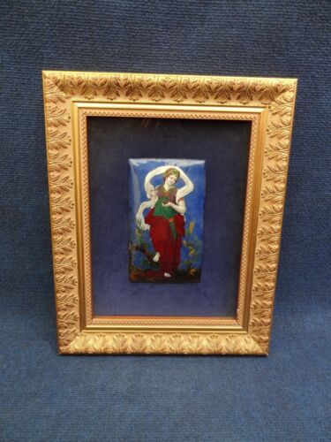 FRENCH LIMOGES ENAMEL PLAQUE OF A GODDESS FRAMED