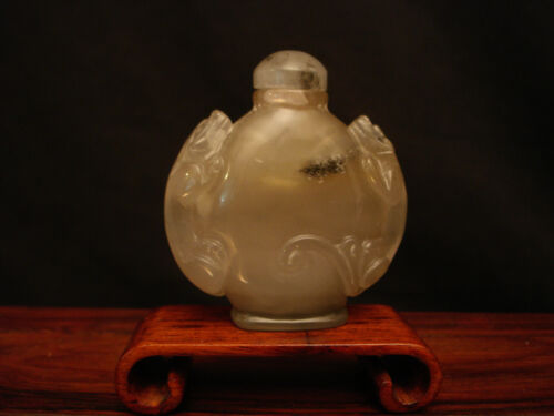 "VINTAGE CHINESE CARVED AGATE LIONS SNUFF BOTTLE 2 3/8"" TALL"