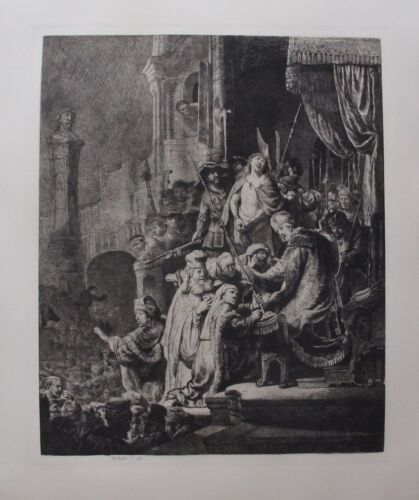"REMBRANDT ""CHRIST BEFORE PILATE"" Amand Durand Plate Signed Etching"