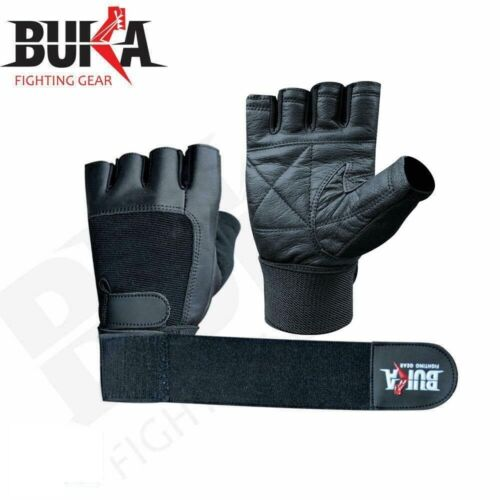 BUKA  LEATHER GYM GLOVES FITNESS WEIGHT LIFTING TRAINING BODYBUILDING CROSSFIT