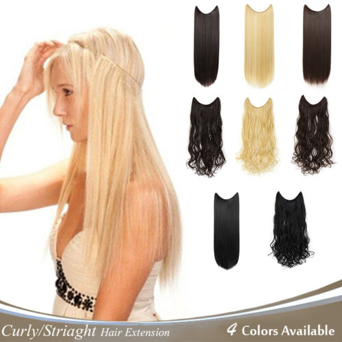"OneDor 20""/24"" Curly/Striaght Synthetic Hair extensions-Transparent wire/No clip"