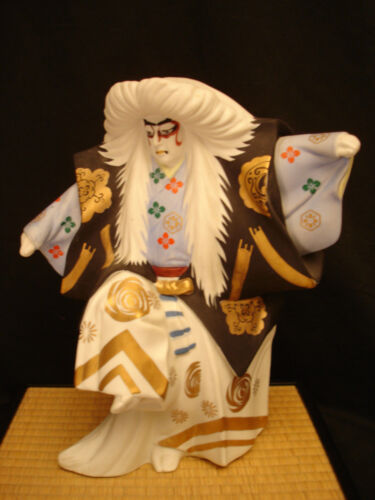 "13"" H JAPANESE SHOWA PERIOD CERAMIC KABUKI DOLL WITH ORIGINAL STAND"