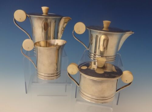 French .950 Sterling Silver Art Deco Tea Set Coffee Sugar Creamer #0145