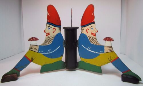 Antique Three Gnomes Christmas Tree Pole Stand hand painted metal wooden shoes