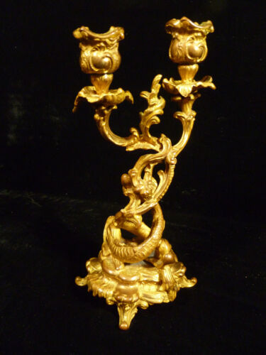 18th or 19th CENTURY FRENCH GILT BRONZE ROCOCO DOLPHIN CANDLESTICK