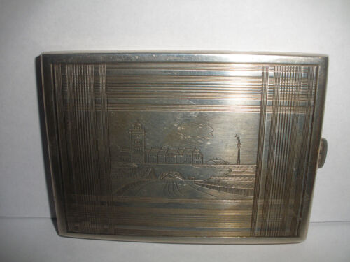 NICE VINTAGE RUSSIAN SILVER CIGARETTE CASE WITH CITY SCENE DECORATION