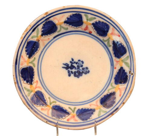 Antique Spanish Hispano Moresque Pottery Majolica Faience Plate Charger Manises