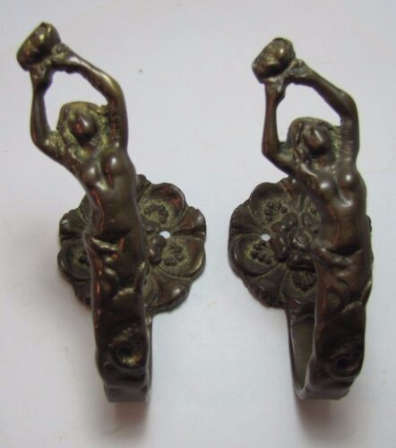 Vtg Nude Bronze Curtain Tie Backs pair flower mount brass architectural hardware