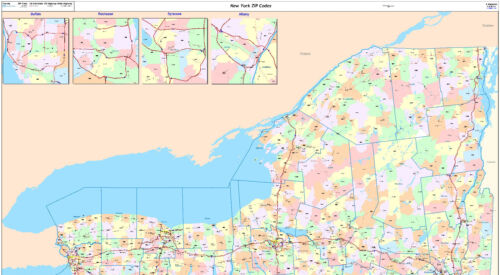 New York State Zipcode Laminated Wall Map
