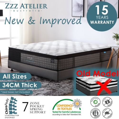 Queen Double King Single Mattress Bed Euro top Pocket Spring Latex Chiropractic <br/> ✔Top Selling on eBay✔Top Feedback✔Free Post-Multi Areas