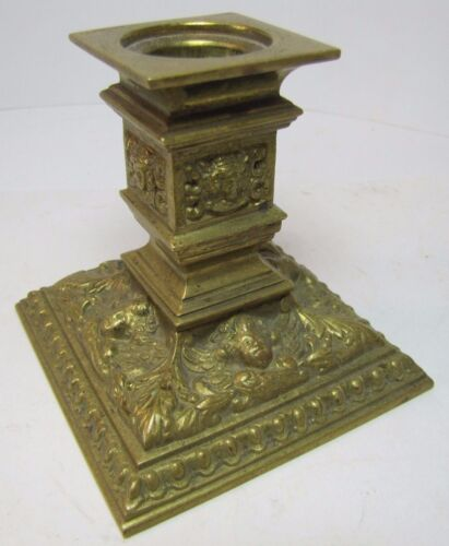 Antique Brass Candlestick Candle Holder beautiful winged cherubs ornate details