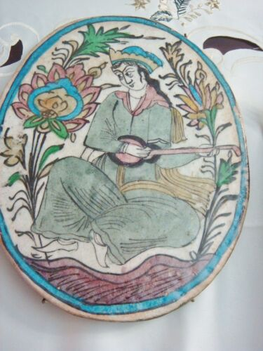 """ANTIQUE INDIAN?  POTTERY GLAZED OVAL TILE WOMAN PLAYING INSTRUMENT, 10"""" X 8""""[2pu"""
