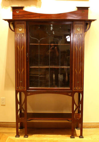 MAGNIFICENT 1900 ENGLISH  ART NOUVEAU INLAID MOTHER OF PEARL CABINET