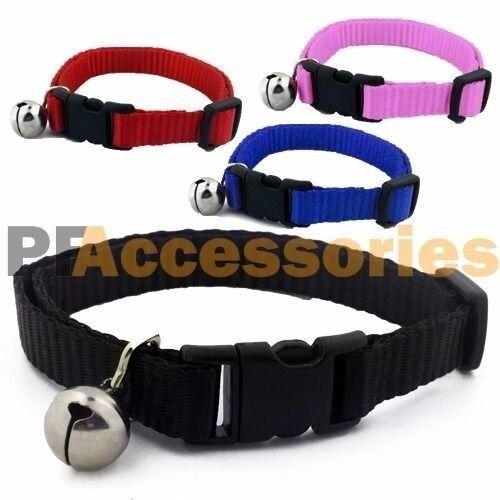 Adjustable Breakaway Nylon Cat Collar with Bell for Cat Kitten Black Red Blue