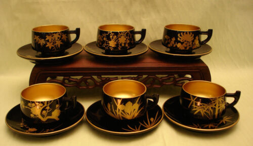 MARKED 奧 JAPANESE SHOWA PERIOD LACQUERED WOOD CUP & SAUCER SET / 6