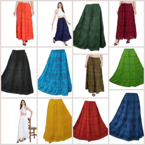 Cotton Lace Maxi Embroidered Gypsy Boho Casual Festival Skirt 10 12 14 16 18 20