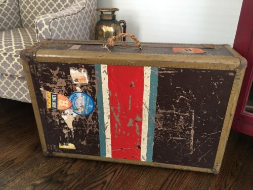 Vintage Hartmann Tourobe Trunk Steamer Luggage w/ Authentic Decals & Stripes