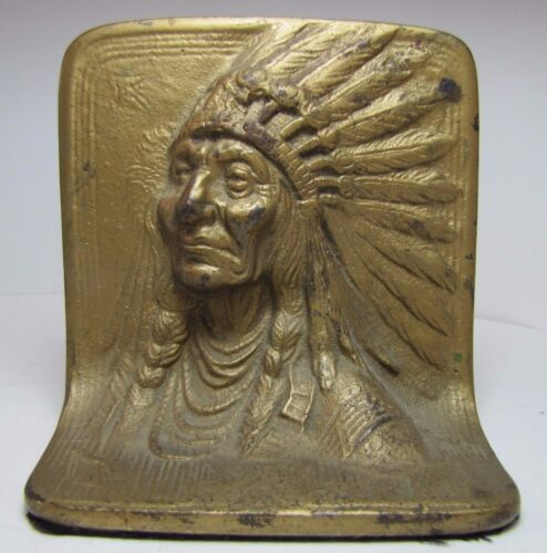 Antique Cast Iron Indian Chief Bookend Doorstop Display Art orig old gold paint