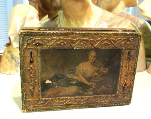 OLD ITALIAN  TOLE  FLORENTINE GESSO JEWELRY BOX W/ IMAGE OF WOMAN AND FLOWERS