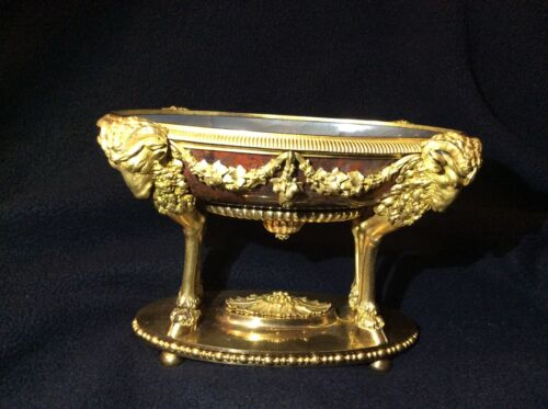 Antique gold gilt candy dish 4 GOLDEN RAMS!!! UNCOMMON!!!
