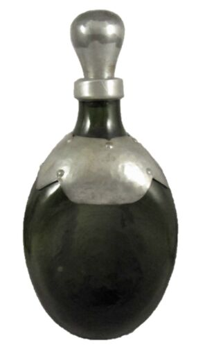 1930's Arts & Crafts pewter clad wine or dimpled liqueur decanter