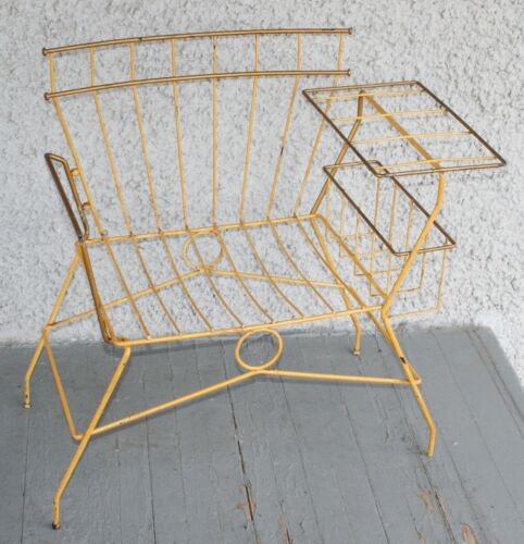Vintage Eclectic Modern Metal Wire Chair. Bent Steel Magazine Rack Frame RARE!