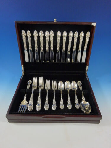 Violet by Wallace Sterling Silver Flatware Set For 12 Service 51 Pieces No Mono