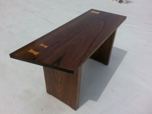 3 Bowtie Mid Century Studio Style Walnut Cherry Entry Gallery Bench Custom